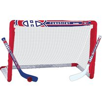 Franklin Sports LNH Ensemble de but de hockey miniature des Canadiens, ens. de but, bâton et balle