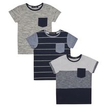 George British Design Boys' 3Pk Blues Fabric Interest T Shirt 4-5