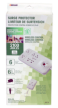 Energy Saving Wireless Remote Control 6-Outlet Surge Protector 2100J