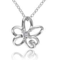 Miadora Diamond Accent Sterling Silver Flower Pendant, 18""