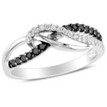 Miadora 0.25 Carat Total Weight Black and White Diamond Sterling Silver Fashion Ring 5