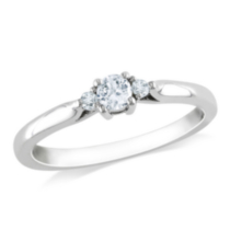 Miabella 0.25 Carat Total Weight Created White Sapphire and Diamond Accent Promise Ring in Sterling Silver 9