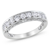 Miadora 1.10 Carat Total Weight Created White Sapphire Anniversary Ring in Sterling Silver 7