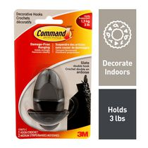 Command® Slate  Decorative Double Hook