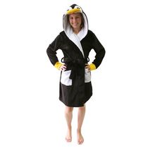 George Ladies' Hooded Charcter Robe Black S/M