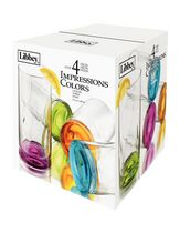 Libbey Glass Impressions Colors Coolers, 4 Pieces