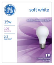 GE soft white 15W A15