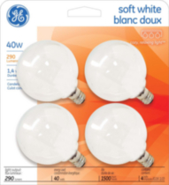 GE soft white 40W G16.5 4PK