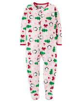 Child of Mine made by Carter's Infant Girl's Holiday Printed Blanket Fleece Pyjama 12M
