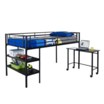Twin Metal Loft Bed with Desk - Black