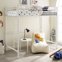 Twin Loft Metal Bunk Bed - White