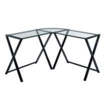 Glass and Metal X-Frame Corner Computer Desk