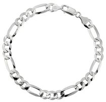 "Sterling Silver 8.5"" Men's Bracelet with Flat Figaro Links"
