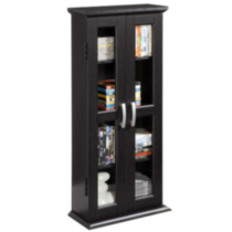 Black Wood DVD Tower / Media Cabinet