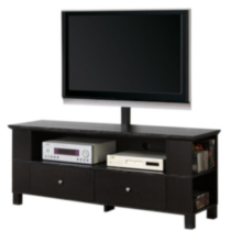 Black Wood TV Stand with Storage and Mount