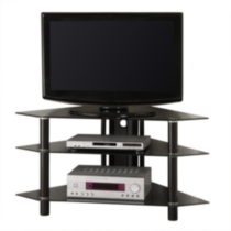 Black Glass and Metal Corner TV Stand