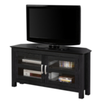 Black Wood Corner TV Stand with Glass Doors