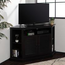 Black Wood Corner TV Stand with Louvered Doors
