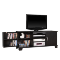 60'' Black Wood TV Stand with Media Storage