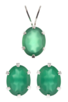 St. Silver Green Onyx Topaz Earrings Pendant set