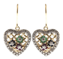 St. Silver Gold Plated genuine Emerald, Sapphire, Ruby heart drop Earrings