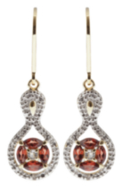 Silver Gold Plated Garnet Earrings