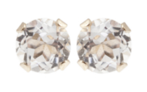 10kt Yellow Gold 3 mm genuine White Topaz stud Earrings