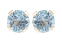 10kt Yellow Gold 3 mm genuine Blue Topaz stud Earrings