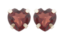 14kt. Yellow Gold 5mm genuine garnet heart Earrings