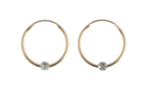14kt Gold Aquamarine Hoop Earrings
