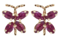 14kt Yellow Gold genuine Ruby butterfly Earrings