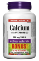 Webber Naturals® Calcium with Vitamin D, 500 mg/200 IU, 250 tablets