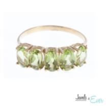 10kt Gold Ring set with 6x4 mm genuine Peridots