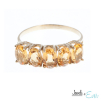10kt Gold Ring set with 6x4 mm genuine citrines