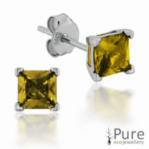 Gold Colour CZ Square Prong Set Stud Earrings in Sterling Silver - 4mm