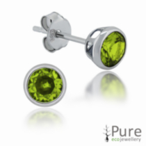 Peridot CZ Round Bezel Stud Earrings in Sterling Silver - 4mm