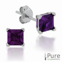 Amethyst CZ Square Prong Set Stud Earrings in Sterling Silver - 4mm