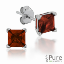 Garnet CZ Square Prong Set Stud Earrings in Sterling Silver - 5mm