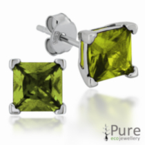 Peridot CZ Square Prong Set Stud Earrings in Sterling Silver - 6mm
