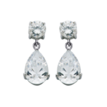 Sterling Silver Cubic Zirconia Pear Shape Drop Earring