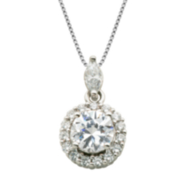 Sterling Silver Cubic Zirconia Round and Marquise Pendant