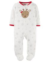 Child of Mine by Carter's Newborn Girls' Reindeer Sleep n Play Outfit 0-3