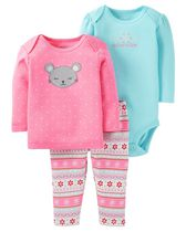 Child of Mine by Carter's Newborn Girls' Mouse 3-Piece Wardrobe Essential Set 24M