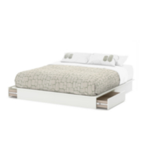 "South Shore SoHo Collection King Platform Bed (78"") with Drawers White"