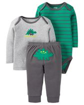 Child of Mine by Carter's Newborn Boy's 3 piece Dinosaur Wardrobe Essential Set 18M