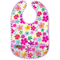 Infant Taffeta Waterproof Bib - Girl - White Flowers
