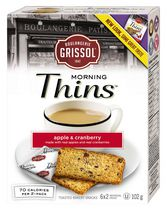 Dare Foods Boulangerie Grissol Morning Thins Apple and Cranberry Toasted Bakery Snack