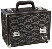 Caboodles 11.25 Inches Black Lace Cosmetic Train Case - 6 Tray