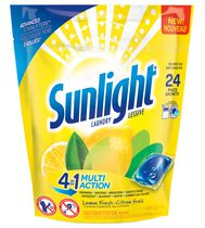 Sunlight Laundry Lemon Fresh Unit Dose 24CT