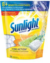 Sunlight + Oxi Action Dishwashing Detergent Citrus Burst with Scrubbing Beads 55CT